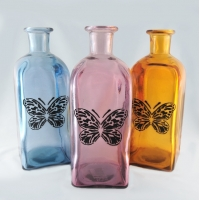 Botellas con mariposas. Pack de 3.