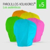 Farolillos voladores colores variados. Pack 5 unidades.