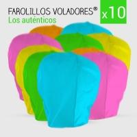 Pack x10 Farolillo volador variado