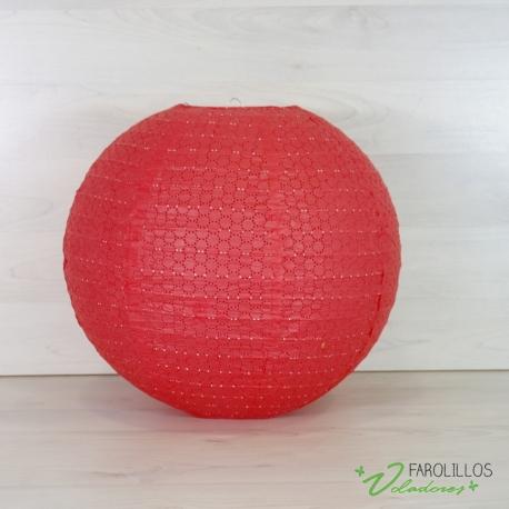 Farolillo de papel con dibujo en Rojo. 40 cm.