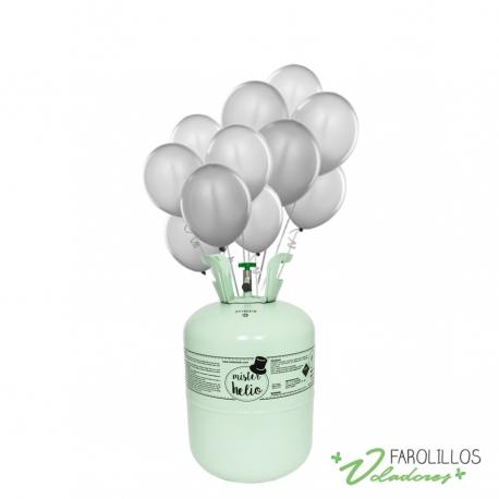 Bombona de helio pequeña+30 globos metalizados plata