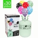 Bombona de helio + 30 globos de lunares. Elije el color que más te guste!!