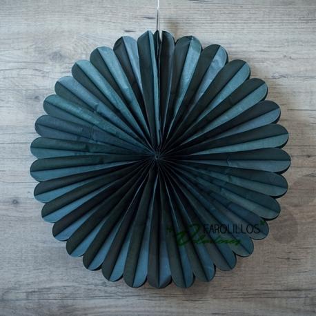 Abanico de papel de seda Gris Oscuro. 40cm.