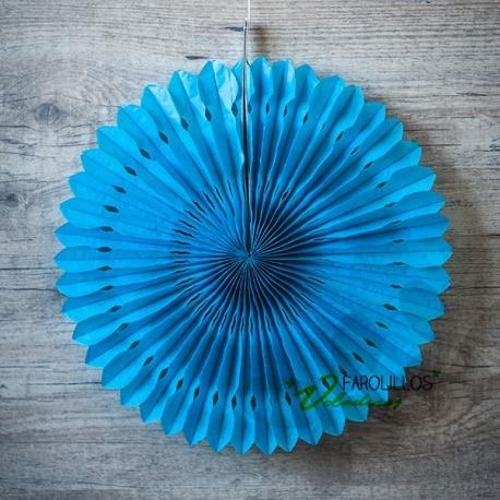 Abanico de papel de seda troquelado Azul. 30 cm