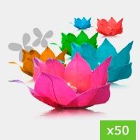 Flores de agua colores variados. Pack de 50. Incluye velas.