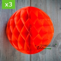 Pack de 3 Bolas papel nido de abeja. Naranja. 30 cm.