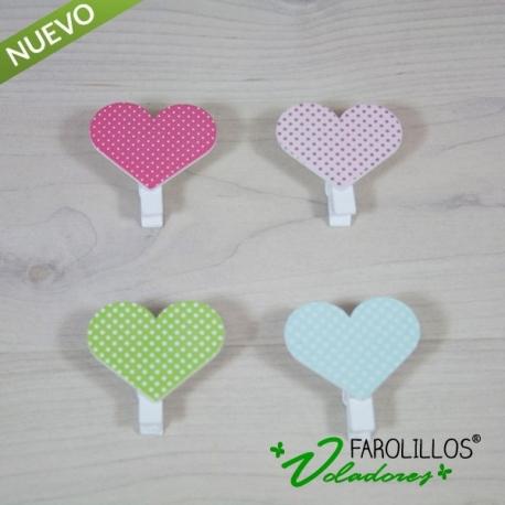 Pinzas de madera de corazón. (Pack de 4 unidades)